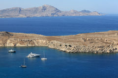 View of Lindos bay Royalty Free Stock Images