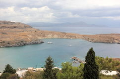 View of Lindos Bay, Rhodes. Dodecanese Islands, Greece, Europe. Stock Images