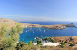 View of Lindos Bay, Rhodes. Dodecanese Islands, Greece, Europe. Royalty Free Stock Images