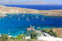 View of Lindos Bay, Rhodes. Dodecanese Islands, Greece, Europe. Stock Photos