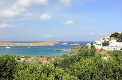 View of Lindos Bay, Rhodes. Dodecanese Islands, Greece, Europe. Royalty Free Stock Photography
