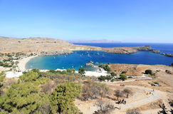 View of Lindos Bay, Rhodes. Dodecanese Islands, Greece, Europe. Royalty Free Stock Image