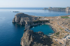 View from Lindos castle Royalty Free Stock Photo