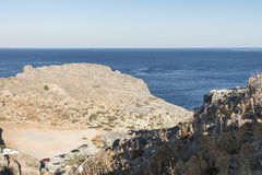 View from the Lindos Castle Stock Photo