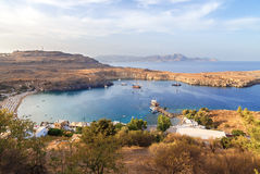View at Lindou Bay from Lindos Acropol Rhodes island, Greece Royalty Free Stock Image