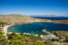 View at Lindou Bay from Lindos Stock Image