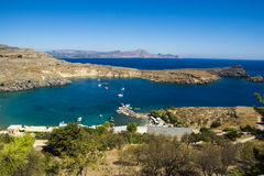 View at Lindou Bay from Lindos Stock Photography