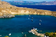 View at Lindou Bay from Lindos Royalty Free Stock Photo