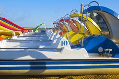View on the line of multicolored pleasure boats, summer stock photography