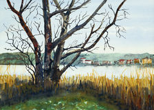 A view of Linlithgow Loch. A watercolor painting showing a view across Linlithgow Loch, West Lothian, Scotland Stock Images