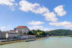 View Linz Danube. Image with view to the river Danube in Linz, Austria Royalty Free Stock Image