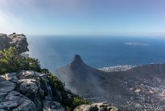View of Lion Head mountain and Cape Town from the top. Of Table Mountain stock image
