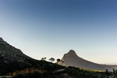 View of Lion Head mountain from the top of Table Mountain. 1 royalty free stock photography