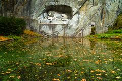 View of Lion Monument of Lucerne Stock Image