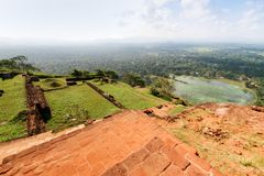View from the lion`s mountain. Sri Lanka, the rock of Sigiriya. View from the lion`s mountain stock image