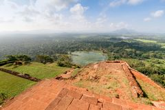 View from the lion`s mountain. Sri Lanka, the rock of Sigiriya. View from the lion`s mountain stock photo
