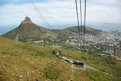 View of Lions Head from cable car of table mountain Stock Image