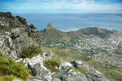 View of Lions Head from table mountain Stock Image