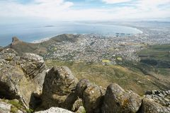 View of Lions Head from table mountain Royalty Free Stock Photography
