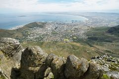 View of Lions Head from table mountain Stock Photos