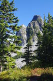 View of Lions peaks. Lions peaks in North Shore mountains stock images