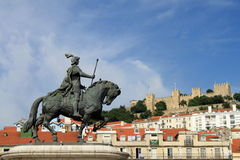 View of Lisbon. Statue and a medieval castle in Lisbon, Portugal stock images