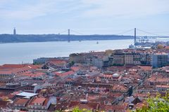 View of Lisbon. - Bridge over the River Tagus Stock Photo