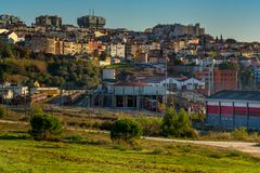 View of lisbon with Campolide train station, Portugal. Stock Images