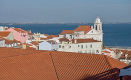View on lisbon houses and chuch. View of the Lisbon center area as photographed from a hill Royalty Free Stock Photos