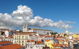 View of Lisbon and Monastery of Sao Vicente de Fora, Portugal Royalty Free Stock Photography