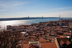 A view of Lisbon Portugal. Lisbon and its famous bridge, seen from above Royalty Free Stock Images