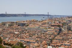 View of Lisbon, river Tagus, bridge stock images