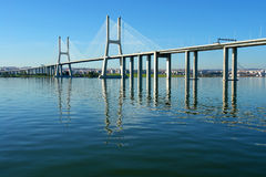 View of Lisbon's. View from river Tagus of Lisbon's Vasco da Gama Bridge, Portugal Royalty Free Stock Photo