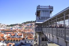 View of Lisbon from the top of the elevador de santa Justa looko stock photo