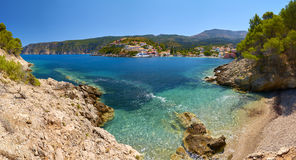 A view of little beach in Assos village, Kefalonia. A view of gorgeous little beach in Assos village in Kefalonia island, Greece Royalty Free Stock Photo