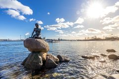 Little mermaid statue Copenhagen royalty free stock photography