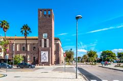 View of little town of Fertilia in a sunny day. Village near Alghero, Sardiia, italy, antique, blinds, blue, building, clear, coast, colorful, europe, house stock images