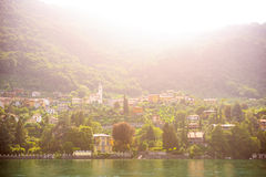 View of the little town on the sunset. Lake Como,Italy Stock Photography