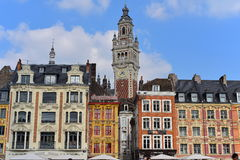View of lively Place du General de Gaulle to the Belfry which is one of the town's landmark Royalty Free Stock Photography