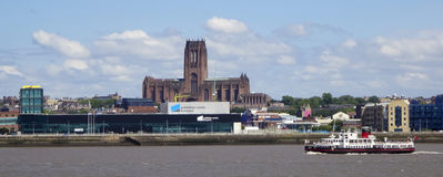 A View of Liverpool and the Mersey River Royalty Free Stock Image