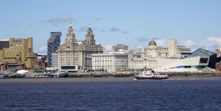 A View of Liverpool and the Mersey River Stock Image