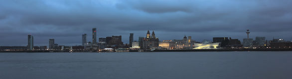 A View of Liverpool and the Mersey River at Night Royalty Free Stock Photos