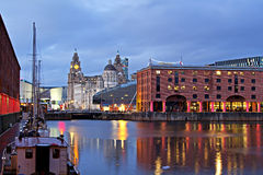 View of Liverpool's Historic Waterfront Royalty Free Stock Images