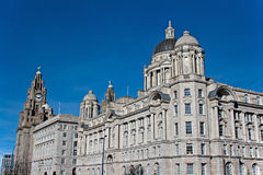 View of Liverpool waterfront. Liver Buildings on Liverpool waterfront stock photography