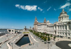 View of liverpool waterfront. From the windows of Liverpool museum at the docks royalty free stock photography