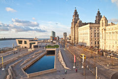 View of liverpool waterfront. From the windows of Liverpool museum at the docks stock image