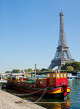 View of a living barge on the Seine in Paris Royalty Free Stock Photos