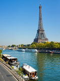 View of a living barge on the Seine in Paris Stock Photo