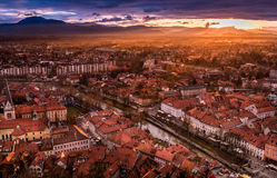A view of Ljubljana from the castle, Slovenia. A sunset view of the centre of Ljubljana from the castle hill, capital of Slovenia Stock Image