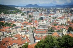 View of Ljubljana, Slovenia from castle tower royalty free stock image